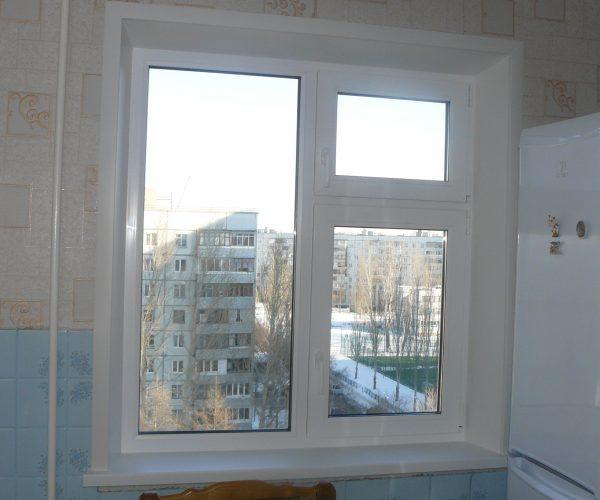 Двухстворчатое окно слева глухая часть, справа две рабочие части
